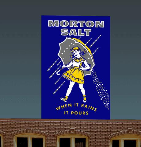 Miller Engineering 6062 N/HO Animated Neon Billboard Morton Salt Small This is a Miller Engineering 6062 N/HO Scales Animated Neon Billboard Morton Salt Small. Who can't remember this classic image of the little girl holding that umbrella for so many generations? Great addition to your layout or a diorama. Dimensions: approx. 2.5 high x 1.5 wide Kit includes: Electroluminescence sign lamp Power supply (requires 3 AAA batteries - not included) Complete instructions Runs on 3 AAA batteries or 4.5v DC wall adapter power supply (sold separately).Condition: Factory New (C-9All original; unused; factory rubs and evidence of handling, shipping and factory test run.Standards for all toy train related accessory items apply to the visual appearance of the item and do not consider the operating functionality of the equipment.Condition and Grading Standards are subjective, at best, and are intended to act as a guide. )Operational Status: FunctionalThis item is brand new from the factory.Original Box: Yes (P-9May have store stamps and price tags. Has inner liners.)Manufacturer: Miller EngineeringModel Number: 6062Road Name: Morton SlatMSRP: $32.95Scale/Era: HO ModernModel Type: AccessoriesAvailability: Ships in 1 Business Day!The Trainz SKU for this item is P11636007. Track: 11636007 - No Location Assigned - 001 - TrainzAuctionGroup00UNK - TDIDUNK