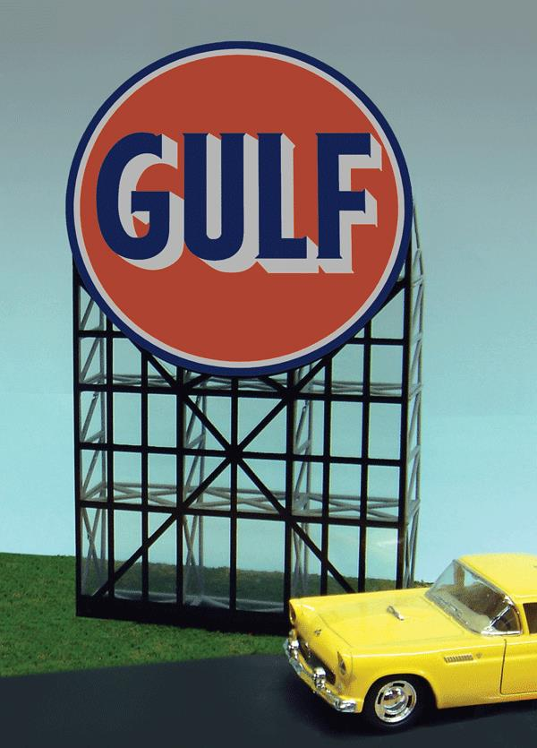 Miller Engineering 6081 HO/O Animated Neon Billboard Gulf Gasoline This is a Miller Engineering 6081 HO/O Scales Animated Neon Billboard Gulf Gasoline 4-1/2 x 7-7/8 Tall. From dancing chase lights to pointing arrows, these animated electroluminiscent billboard kits feature a wide variety of colorful, simulated-neon graphics for a variety of businesses. Kits include battery holder and all necessary electronics for plug-and-play installation. Signs require three AAA batteries (not included). Just install them on your building rooftops or along highways. Large signs are suitable for HO and larger scales, medium signs are usable as large N Scale signs and in HO Scale.Condition: Factory New (C-9All original; unused; factory rubs and evidence of handling, shipping and factory test run.Standards for all toy train related accessory items apply to the visual appearance of the item and do not consider the operating functionality of the equipment.Condition and Grading Standards are subjective, at best, and are intended to act as a guide. )Operational Status: FunctionalThis item is brand new from the factory.Original Box: Yes (P-9May have store stamps and price tags. Has inner liners.)Manufacturer: Miller EngineeringModel Number: 6081Road Name: GulfMSRP: $52.95Scale/Era: HO ModernModel Type: AccessoriesAvailability: Ships in 1 Business Day!The Trainz SKU for this item is P11590432. Track: 11590432 - No Location Assigned - 001 - TrainzAuctionGroup00UNK - TDIDUNK
