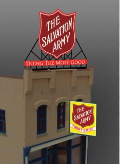 Miller Engineering 62981 HO/O Animated Neon Billboard Large Salvation This is a Miller Engineering 62981 HO/O Scales Animated Neon Billboard Large Salvation Army Logo & Thrift Store Kits. From dancing chase lights to pointing arrows, these animated electroluminiscent billboard kits feature a wide variety of colorful, simulated-neon graphics for a variety of businesses. Kits include battery holder and all necessary electronics for plug-and-play installation. Signs require three AAA batteries (not included). Just install them on your building rooftops or along highways. Large signs are suitable for HO and larger scales, medium signs are usable as large N Scale signs and in HO Scale.Condition: Factory New (C-9All original; unused; factory rubs and evidence of handling, shipping and factory test run.Standards for all toy train related accessory items apply to the visual appearance of the item and do not consider the operating functionality of the equipment.Condition and Grading Standards are subjective, at best, and are intended to act as a guide. )Operational Status: FunctionalThis item is brand new from the factory.Original Box: Yes (P-9May have store stamps and price tags. Has inner liners.)Manufacturer: Miller EngineeringModel Number: 62981Road Name: Salvation ArmyMSRP: $67.95Scale/Era: HO ModernModel Type: AccessoriesAvailability: Ships in 3 to 5 Business Days.The Trainz SKU for this item is P11645859. Track: 11645859 - FS - 001 - TrainzAuctionGroup00UNK - TDIDUNK