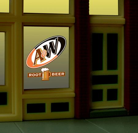 Miller Engineering 6666 HO/O Animated Neon Window Sign A&W Rood Beer This is a Miller Engineering 6666 HO/O Scales Animated Neon Window Sign A&W Rood Beer .A&W started 1919, at a parade honoring returning World War I veterans in Lodi, California, Roy Allen set up a roadside drink stand to offer a new thick and creamy drink called root beer. His creation was such a success, he decided to take on a partner, Frank Wright. In 1922, Allen and Wright combined their initials to name the beverage A&W Root Beer. Great addition to your layout or a diorama. This is the perfect complement for the large (HO/O scale) A&W billboard sign. The window sign is in on a clear 2 x 2-1/8 background that can be trimmed to size (smallest window opening .9 high x .825 wide). Kit includes: Electroluminescence sign lamp Power supply (requires 3 AAA batteries - not included) Complete instructions Runs on 3 AAA batteries or 4.5v DC wall adapter power supply (sold separately)Condition: Factory New (C-9All original; unused; factory rubs and evidence of handling, shipping and factory test run.Standards for all toy train related accessory items apply to the visual appearance of the item and do not consider the operating functionality of the equipment.Condition and Grading Standards are subjective, at best, and are intended to act as a guide. )Operational Status: FunctionalThis item is brand new from the factory.Original Box: Yes (P-9May have store stamps and price tags. Has inner liners.)Manufacturer: Miller EngineeringModel Number: 6666Road Name: A&WMSRP: $17.95Scale/Era: HO ModernModel Type: AccessoriesAvailability: Ships in 3 to 5 Business Days.The Trainz SKU for this item is P11637425. Track: 11637425 - FS - 001 - TrainzAuctionGroup00UNK - TDIDUNK