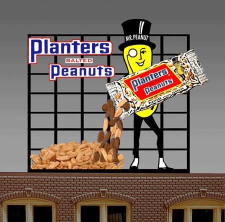 Miller Engineering 7061 HO/O Animated Neon Billboard Planters Peanuts This is a Miller Engineering 7061 HO/O Scales Animated Neon Billboard Planters Peanuts with Mr. Peanut Large 4 x 4-1/2 10.2 x 11.4cm. An Italian immigrant named Amedeo Obici, founder of Planters, was born in 1876 in the small town of Oderzo, near Venice, Italy. He came to America, first to Brooklyn then to Wilkes-Barre, Pennsylvania. He opened his own fruit stand and invested in a peanut roaster. Here he linked his life's fortune with the peanut. Two years later, the firm was incorporated as Planters Nut and Chocolate Company. Planter's mascot, Mr. Peanut, is such a nut! Everybody's just crazy about him! Since his introduction in 1916, to help advertise the sales of the country's first roasted peanut company, Mr. Peanut has become one of the nation's best-known advertising characters. Based on the original drawing of a 13-year-old boy, the ever-dapper Mr. Peanut eventually added a top hat, white spats, ebony cane, and monocle to his unique ensemble. Great addition to your layout or a diorama. Dimensions: approx. 4.5 high x 4 wide Kit includes: Electroluminescence sign Power supply (requires 3 AAA batteries - not included) 6 popular theatre name peel & stick overlays Complete instructions Runs on 3 AAA batteries or 4.5v DC wall adapter power supply (sold separately).Condition: Factory New (C-9All original; unused; factory rubs and evidence of handling, shipping and factory test run.Standards for all toy train related accessory items apply to the visual appearance of the item and do not consider the operating functionality of the equipment.Condition and Grading Standards are subjective, at best, and are intended to act as a guide. )Operational Status: FunctionalThis item is brand new from the factory.Original Box: Yes (P-9May have store stamps and price tags. Has inner liners.)Manufacturer: Miller EngineeringModel Number: 7061Road Name: Planters PeanutsMSRP: $49.95Scale/Era: HO ModernModel Type: AccessoriesAv