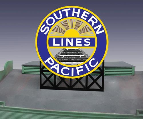 Miller Engineering 7071 O/HO Southern Pacific Animated Billboard This is a Miller Engineering 7071 O/HO Scales Southern Pacific Animated Billboard. This sign has a second set of contacts on the backside so the lower part can be trimmed of and the remaining circle can be flush mounted on the side of a building. Great addition to your layout or a diorama. Dimensions: approx. 4.4 high x 3.65 wide Kit includes: Electroluminescence sign lamp Billboard stand and supports Power supply (requires 3 AAA batteries - not included) Complete instructions Runs on 3 AAA batteries or 4.5v DC wall adapter power supply (sold separately).Condition: Factory New (C-9All original; unused; factory rubs and evidence of handling, shipping and factory test run.Standards for all toy train related accessory items apply to the visual appearance of the item and do not consider the operating functionality of the equipment.Condition and Grading Standards are subjective, at best, and are intended to act as a guide. )Operational Status: FunctionalThis item is brand new from the factory.Original Box: Yes (P-9May have store stamps and price tags. Has inner liners.)Manufacturer: Miller EngineeringModel Number: 7071Road Name: Southern PacificMSRP: $49.95Scale/Era: HO ModernModel Type: AccessoriesAvailability: Ships in 1 Business Day!The Trainz SKU for this item is P11621570. Track: 11621570 - No Location Assigned - 001 - TrainzAuctionGroup00UNK - TDIDUNK