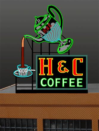 Miller Engineering 7881 HO/O H & C Coffee Animated Neon Billboard This is a Miller Engineering 7881 HO/O H & C Coffee Animated Neon Billboard 3-5/16 x 4 8.4 x 10.2cm. Add Action to Layout Scenes. Light Works USA animated billboards from Miller Engineering are perfect for adding motion and lighting to any layout. Easy-to-install, each comes prewired with all electronics ready to go. Simply plug everything together and place them on your pike. These signs can be used in HO, S or O Scale scenes.Condition: Factory New (C-9All original; unused; factory rubs and evidence of handling, shipping and factory test run.Standards for all toy train related accessory items apply to the visual appearance of the item and do not consider the operating functionality of the equipment.Condition and Grading Standards are subjective, at best, and are intended to act as a guide. )Operational Status: FunctionalThis item is brand new from the factory.Original Box: Yes (P-9May have store stamps and price tags. Has inner liners.)Manufacturer: Miller EngineeringModel Number: 7881Road Name: H&C CoffeeMSRP: $36.95Scale/Era: HO ModernModel Type: AccessoriesAvailability: Ships within 3 Business Days!The Trainz SKU for this item is P11588367. Track: 11588367 - 1017-B (Suite 2740-200)  - 001 - TrainzAuctionGroup00UNK - TDIDUNK