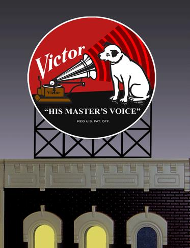 Miller Engineering 8072 HO/N RCA Animated Billboard This is a Miller Engineering 8072 HO/N Scales RCA Animated Billboard. Limited edition small N/HO scale RCA Victor animated billboard sign. RCA's little Nipper became an advertising icon three years after his death in 1895. The original image was offered to the Edison record company who declined saying Dogs don't listen to phonographs. In the end it was acquired by RCA to become one of the world most recognized icons. Great addition to your layout or a diorama. This sign has a second set of contacts on the back side so the lower part can be trimmed off and the remaining circle logo can be flush mounted on a building. Kit includes: Electroluminescence sign lamp Billboard stand (supports sold separately) Power supply (requires 3 AAA batteries - not included) Complete instructions Dimensions: 2.2 high x 1.8 wide Runs on 3 AAA batteries or 4.5v DC wall adapter power supply (sold separately).Condition: Factory New (C-9All original; unused; factory rubs and evidence of handling, shipping and factory test run.Standards for all toy train related accessory items apply to the visual appearance of the item and do not consider the operating functionality of the equipment.Condition and Grading Standards are subjective, at best, and are intended to act as a guide. )Operational Status: FunctionalThis item is brand new from the factory.Original Box: Yes (P-9May have store stamps and price tags. Has inner liners.)Manufacturer: Miller EngineeringModel Number: 8072Road Name: RCAMSRP: $29.95Scale/Era: HO ModernModel Type: AccessoriesAvailability: Ships in 2 Business Days!The Trainz SKU for this item is P11620917. Track: 11620917 - No Location Assigned - 001 - TrainzAuctionGroup00UNK - TDIDUNK