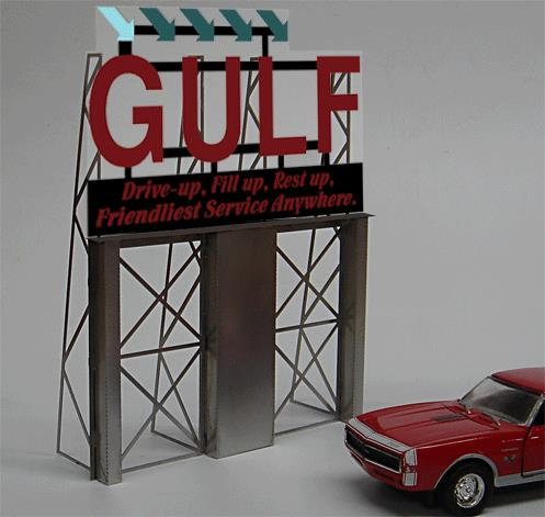 Miller Engineering 8181 HO/O Gulf Gas Animated Roadside Billboard This is a Miller Engineering 8181 HO/O Scales Gulf Gas Animated Roadside Billboard. HO/O scale animated billboard sign. a Miller Engineering Engineering's Roadside Billboards signs incorporate all the great features of our Light Works signs plus a complete photo etched stainless steel support that's easy to put together and will add a whole new dimension to your layout. This easy to build kit comes with complete, easy to follow instructions. Great addition to your layout or a diorama. Kit includes: Electroluminescence sign lamp Billboard stand and supports Power supply (requires 3 AAA batteries - not included) Complete instructions Dimensions: 4.3 high x 5.8 wide Runs on 3 AAA batteries or 4.5v DC wall adapter power supply (sold separately).Condition: Factory New (C-9All original; unused; factory rubs and evidence of handling, shipping and factory test run.Standards for all toy train related accessory items apply to the visual appearance of the item and do not consider the operating functionality of the equipment.Condition and Grading Standards are subjective, at best, and are intended to act as a guide. )Operational Status: FunctionalThis item is brand new from the factory.Original Box: Yes (P-9May have store stamps and price tags. Has inner liners.)Manufacturer: Miller EngineeringModel Number: 8181Road Name: GulfMSRP: $45.95Scale/Era: HO ModernModel Type: AccessoriesAvailability: Ships in 1 Business Day!The Trainz SKU for this item is P11588368. Track: 11588368 - No Location Assigned - 001 - TrainzAuctionGroup00UNK - TDIDUNK