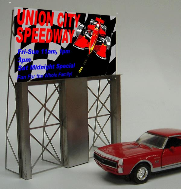 Miller Engineering 8481 HO/O Union City Speedway Animated Billboard This is a Miller Engineering 8481 HO/O Scales Union City Speedway Animated Billboard. Great addition to your layout or a diorama. Dimensions: 5.1 high x 4.3 wide Kit includes: Electroluminescence sign lamp Billboard stand and supports Power supply (requires 3 AAA batteries - not included) Complete instructions Photo etched stainless steel support structure Runs on 3 AAA batteries or 4.5v DC wall adapter power supply (sold separately).Condition: Factory New (C-9All original; unused; factory rubs and evidence of handling, shipping and factory test run.Standards for all toy train related accessory items apply to the visual appearance of the item and do not consider the operating functionality of the equipment.Condition and Grading Standards are subjective, at best, and are intended to act as a guide. )Operational Status: FunctionalThis item is brand new from the factory.Original Box: Yes (P-9May have store stamps and price tags. Has inner liners.)Manufacturer: Miller EngineeringModel Number: 8481MSRP: $45.95Scale/Era: HO ModernModel Type: AccessoriesAvailability: Ships in 1 Business Day!The Trainz SKU for this item is P11588371. Track: 11588371 - No Location Assigned - 001 - TrainzAuctionGroup00UNK - TDIDUNK