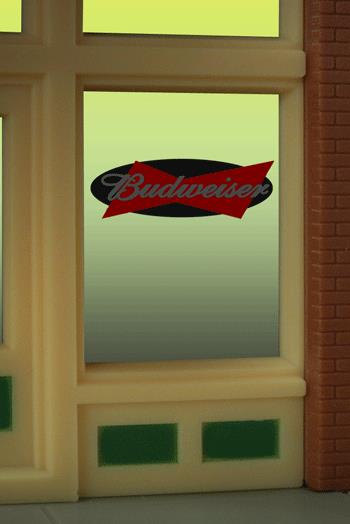 Miller Engineering 8815 HO/O Budweiser Beer Flashing Neon Window Sign This is a Miller Engineering 8815 HO/O Scales Budweiser Beer Flashing Neon Window Sign. Great addition to your layout or a diorama. This is the perfect complement for the large (HO/O scale) Budweiser Beer billboard sign. The window sign is in on a clear background that can be trimmed to size (smallest window opening .9 high x .825 wide) Kit includes: Electroluminescence sign lamp Power supply (requires 3 AAA batteries - not included) Complete instructions Runs on 3 AAA batteries or 4.5v DC wall adapter power supply (sold separately)Condition: Factory New (C-9All original; unused; factory rubs and evidence of handling, shipping and factory test run.Standards for all toy train related accessory items apply to the visual appearance of the item and do not consider the operating functionality of the equipment.Condition and Grading Standards are subjective, at best, and are intended to act as a guide. )Operational Status: FunctionalThis item is brand new from the factory.Original Box: Yes (P-9May have store stamps and price tags. Has inner liners.)Manufacturer: Miller EngineeringModel Number: 8815Road Name: BudweiserMSRP: $17.95Scale/Era: HO ModernModel Type: AccessoriesAvailability: Ships within 3 Business Days!The Trainz SKU for this item is P11658341. Track: 11658341 - 1013-D (Suite 2740-200)  - 001 - TrainzAuctionGroup00UNK - TDIDUNK