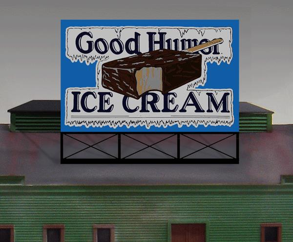Miller Engineering 881501 HO/O Good Humor Animated Neon Billboard Larg This is a Miller Engineering 881501 HO/O Scales Good Humor Animated Neon Billboard - Light Works USA Large. Limited edition large O/HO Scales scale animated billboard sign. The Good Humor company started in Youngstown, Ohio, during the early 1920s and covered most of the country by the mid-1930s. Good Humor became a fixture in American popular culture, and at its peak in the 1950s the company operated 2,000 sales cars. Great addition to your layout or a diorama. Kit includes: Electroluminescence sign lamp Power supply (requires 3 AAA batteries - not included) Sign supports Complete instructions Dimensions: 3.85 high x 4.8 wide Runs on 3 AAA batteries, or 4.5v DC AC wall adapter power supply, or AD/DC power converter (sold separately).Condition: Factory New (C-9All original; unused; factory rubs and evidence of handling, shipping and factory test run.Standards for all toy train related accessory items apply to the visual appearance of the item and do not consider the operating functionality of the equipment.Condition and Grading Standards are subjective, at best, and are intended to act as a guide. )Operational Status: FunctionalThis item is brand new from the factory.Original Box: Yes (P-9May have store stamps and price tags. Has inner liners.)Manufacturer: Miller EngineeringModel Number: 881501Road Name: Good HumorMSRP: $49.95Scale/Era: HO ModernModel Type: AccessoriesAvailability: Ships in 1 Business Day!The Trainz SKU for this item is P11983573. Track: 11983573 - No Location Assigned - 001 - TrainzAuctionGroup00UNK - TDIDUNK