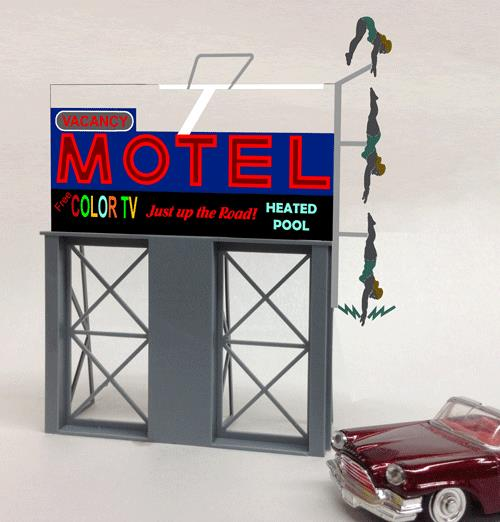 Miller Engineering 881651 HO/O Motel Animated Neon Billboard Large This is a Miller Engineering 881651 HO/O Scales Motel Animated Neon Billboard - Light Works USA Large . Our Motel roadside billboard is the perfect addition for that empty spot on your layout. It works great even if you don't have a motel! ...because it's just up the road!. Great addition to your layout or a diorama. Kit includes: Electroluminescence sign lamp Power supply (requires 3 AAA batteries - not included) Sign supports Complete instructions Dimensions: 6 high x 5 wide Runs on 3 AAA batteries, or 4.5v DC AC wall adapter power supply, or AD/DC power converter (sold separately).Condition: Factory New (C-9All original; unused; factory rubs and evidence of handling, shipping and factory test run.Standards for all toy train related accessory items apply to the visual appearance of the item and do not consider the operating functionality of the equipment.Condition and Grading Standards are subjective, at best, and are intended to act as a guide. )Operational Status: FunctionalThis item is brand new from the factory.Original Box: Yes (P-9May have store stamps and price tags. Has inner liners.)Manufacturer: Miller EngineeringModel Number: 881651MSRP: $49.95Scale/Era: HO ModernModel Type: AccessoriesAvailability: Ships in 1 Business Day!The Trainz SKU for this item is P11984810. Track: 11984810 - No Location Assigned - 001 - TrainzAuctionGroup00UNK - TDIDUNK