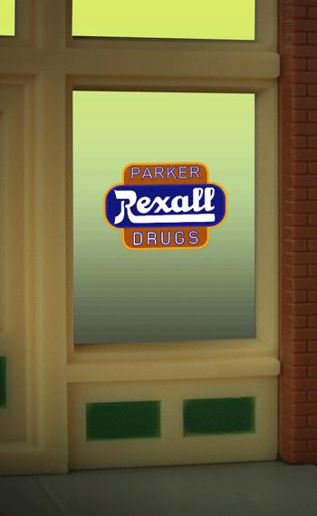 Miller Engineering 8820 HO/O Rexall Parker Drugs Flashing Neon Window This is a Miller Engineering 8820 HO/O Scales Rexall Parker Drugs Flashing Neon Window Sign. Great addition to your layout or a diorama. This is the perfect complement for the large (HO/O scale) Rexall Drugs billboard sign. The window sign is in on a clear background that can be trimmed to size (smallest window opening .9 high x .825 wide) Kit includes: Electroluminescence sign lamp Power supply (requires 3 AAA batteries - not included) Complete instructions Runs on 3 AAA batteries or 4.5v DC wall adapter power supply (sold separately).Condition: Factory New (C-9All original; unused; factory rubs and evidence of handling, shipping and factory test run.Standards for all toy train related accessory items apply to the visual appearance of the item and do not consider the operating functionality of the equipment.Condition and Grading Standards are subjective, at best, and are intended to act as a guide. )Operational Status: FunctionalThis item is brand new from the factory.Original Box: Yes (P-9May have store stamps and price tags. Has inner liners.)Manufacturer: Miller EngineeringModel Number: 8820Road Name: RexallMSRP: $17.95Scale/Era: HO ModernModel Type: AccessoriesAvailability: Ships within 3 Business Days!The Trainz SKU for this item is P11658342. Track: 11658342 - 1011-F (Suite 2740-200)  - 001 - TrainzAuctionGroup00UNK - TDIDUNK