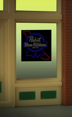 Miller Engineering 8825 HO/O Pabst Beer Flashing Neon Window Sign This is a Miller Engineering 8825 HO/O Scales Pabst Beer Flashing Neon Window Sign - Light Works USA(TM). Great addition to your layout or a diorama. This is the perfect complement for the large (HO/O Scales scale) Pabst Beer billboard sign. The window sign is in on a clear background that can be trimmed to size (smallest window opening .9 high x .825 wide) Kit includes: Electroluminescence sign lamp Power supply (requires 3 AAA batteries - not included) Complete instructions Runs on 3 AAA batteries or 4.5v DC wall adapter power supply (sold separately).Condition: Factory New (C-9All original; unused; factory rubs and evidence of handling, shipping and factory test run.Standards for all toy train related accessory items apply to the visual appearance of the item and do not consider the operating functionality of the equipment.Condition and Grading Standards are subjective, at best, and are intended to act as a guide. )Operational Status: FunctionalThis item is brand new from the factory.Original Box: Yes (P-9May have store stamps and price tags. Has inner liners.)Manufacturer: Miller EngineeringModel Number: 8825Road Name: PabstMSRP: $17.95Scale/Era: HO ModernModel Type: AccessoriesAvailability: Ships within 3 Business Days!The Trainz SKU for this item is P11685363. Track: 11685363 - 1011-F (Suite 2740-200)  - 001 - TrainzAuctionGroup00UNK - TDIDUNK