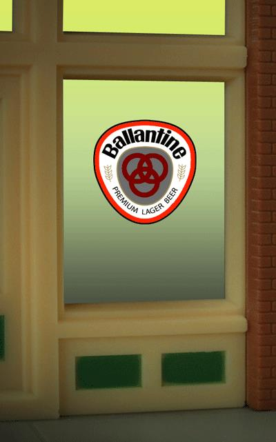 Miller Engineering 8865 HO/O Ballantine Beer Flashing Neon Window Sign This is a Miller Engineering 8865 HO/O Scales Ballantine Beer Animated Window Sign. Limited Edition HO/O scale animated window sign. Perfect addition to the Ballantine billboard. Great addition to your layout or a diorama. The window sign is in on a clear background that can be trimmed to size (smallest window opening .9 high x .825 wide). Kit includes: Electroluminescence sign lamp Power supply (requires 3 AAA batteries - not included) Complete instructions Comes with a 3 position switch: flashing-off-all on Dimensions: 2 wide x 2-1/8 high Runs on 3 AAA batteries, or 4.5vDC AC wall adapter power supply, or AD/DC power converter (sold separately).Condition: Factory New (C-9All original; unused; factory rubs and evidence of handling, shipping and factory test run.Standards for all toy train related accessory items apply to the visual appearance of the item and do not consider the operating functionality of the equipment.Condition and Grading Standards are subjective, at best, and are intended to act as a guide. )Operational Status: FunctionalThis item is brand new from the factory.Original Box: Yes (P-9May have store stamps and price tags. Has inner liners.)Manufacturer: Miller EngineeringModel Number: 8865Road Name: BallantineMSRP: $17.95Scale/Era: HO ModernModel Type: AccessoriesAvailability: Ships within 3 Business Days!The Trainz SKU for this item is P11725031. Track: 11725031 - 1011-F (Suite 2740-200)  - 001 - TrainzAuctionGroup00UNK - TDIDUNK