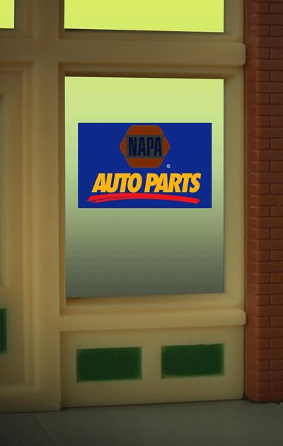 Miller Engineering 8895 HO/O NAPA Auto Parts Animated Window Sign This is a Miller Engineering 8895 HO/O Scales NAPA Auto Parts Animated Window Sign. Great addition to your layout or a diorama. Kit includes: Electroluminescence sign lamp Power supply (requires 3 AAA batteries - not included) Complete instructions The window sign is in on a clear 2 x 2-1/8 background that can be trimmed to size (smallest window opening .5 high x .9 wide). 3-position switch can set sign to all on, all off or flashing. Runs on 3 AAA batteries, or 4.5v DC AC wall adapter power supply, or AD/DC power converter (sold separately).Condition: Factory New (C-9All original; unused; factory rubs and evidence of handling, shipping and factory test run.Standards for all toy train related accessory items apply to the visual appearance of the item and do not consider the operating functionality of the equipment.Condition and Grading Standards are subjective, at best, and are intended to act as a guide. )Operational Status: FunctionalThis item is brand new from the factory.Original Box: Yes (P-9May have store stamps and price tags. Has inner liners.)Manufacturer: Miller EngineeringModel Number: 8895Road Name: NAPAMSRP: $17.95Scale/Era: HO ModernModel Type: AccessoriesAvailability: Ships within 3 Business Days!The Trainz SKU for this item is P11976187. Track: 11976187 - 1011-F (Suite 2740-200)  - 001 - TrainzAuctionGroup00UNK - TDIDUNK