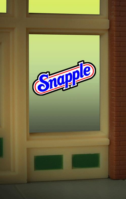 Miller Engineering 8905 HO/O Snapple Flashing Neon Window Sign This is a Miller Engineering 8905 HO/O Scales Snapple Flashing Neon Window Sign - Light Works USA™. Snapple was originally known as Unadulterated Food Products and started in 1972. It was one of the first companies in the United States to manufacture juices and other beverages made from natural ingredients. Great addition to your layout or a diorama.Kit includes: •Electroluminescence sign lamp •Power supply (requires 3 AAA batteries - not included) •Complete instructions.Condition: Factory New (C-9All original; unused; factory rubs and evidence of handling, shipping and factory test run.Standards for all toy train related accessory items apply to the visual appearance of the item and do not consider the operating functionality of the equipment.Condition and Grading Standards are subjective, at best, and are intended to act as a guide. )Operational Status: FunctionalThis item is brand new from the factory.Original Box: Yes (P-9May have store stamps and price tags. Has inner liners.)Manufacturer: Miller EngineeringModel Number: 8905Road Name: SnappleMSRP: $17.95Scale/Era: HO ModernModel Type: AccessoriesAvailability: Ships in 3 to 5 Business Days.The Trainz SKU for this item is P11975364. Track: 11975364 - FS - 001 - TrainzAuctionGroup00UNK - TDIDUNK
