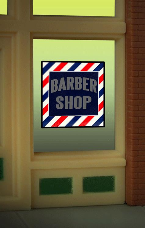 Miller Engineering 8930 HO/O Barber Shop Flashing Neon Window Sign This is a Miller Engineering 8930 HO/O Scales Barber Shop Flashing Neon Window Sign - Light Works USA(TM) . Great addition to your layout or a diorama. This is the perfect complement for the large (HO/O/S scale) billboard sign. The window sign is in on an oversize clear background that can be trimmed to as small as .8 W x .84. Kit includes: Electroluminescence sign lamp Power supply (requires 3 AAA batteries - not included) Complete instructions Runs on 3 AAA batteries (not included), or 4.5v AC wall adapter or AC/DC power converter (sold separately).Condition: Factory New (C-9All original; unused; factory rubs and evidence of handling, shipping and factory test run.Standards for all toy train related accessory items apply to the visual appearance of the item and do not consider the operating functionality of the equipment.Condition and Grading Standards are subjective, at best, and are intended to act as a guide. )Operational Status: FunctionalThis item is brand new from the factory.Original Box: Yes (P-9May have store stamps and price tags. Has inner liners.)Manufacturer: Miller EngineeringModel Number: 8930MSRP: $17.95Scale/Era: HO ModernModel Type: AccessoriesAvailability: Ships in 3 to 5 Business Days.The Trainz SKU for this item is P11982249. Track: 11982249 - FS - 001 - TrainzAuctionGroup00UNK - TDIDUNK