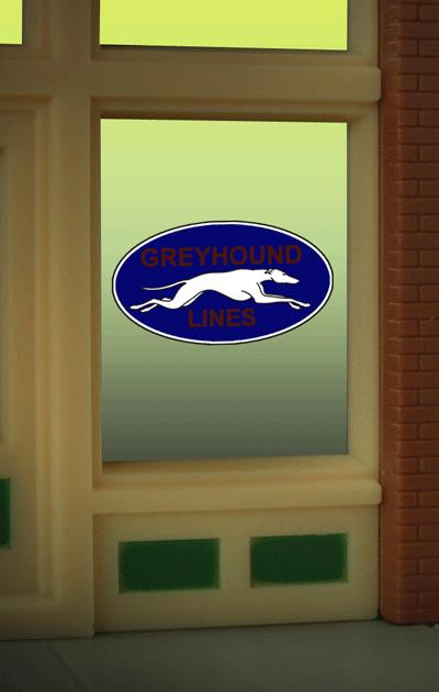 Miller Engineering 8950 HO/O Greyhound Flashing Neon Window Sign This is a Miller Engineering 8950 HO/O Scales Greyhound Flashing Neon Window Sign - Light Works USA. Limited Edition large (HO/O scale) Greyhound Bus Lines animated window sign. Great addition to your layout or a diorama. Like all Miller Engineering window signs, it comes on an oversized clear background that can be trimmed as small as .85 W x .53 T Dimensions: approx. .53 high x .85 wide Kit includes: Electroluminescence sign lamp Power supply (requires 3 AAA batteries - not included) Complete instructions Runs on 3 AAA batteries or 4.5v DC wall adapter power supply (sold separately).Condition: Factory New (C-9All original; unused; factory rubs and evidence of handling, shipping and factory test run.Standards for all toy train related accessory items apply to the visual appearance of the item and do not consider the operating functionality of the equipment.Condition and Grading Standards are subjective, at best, and are intended to act as a guide. )Operational Status: FunctionalThis item is brand new from the factory.Original Box: Yes (P-9May have store stamps and price tags. Has inner liners.)Manufacturer: Miller EngineeringModel Number: 8950Road Name: GreyhoundMSRP: $17.95Scale/Era: HO ModernModel Type: AccessoriesAvailability: Ships in 3 to 5 Business Days.The Trainz SKU for this item is P11984812. Track: 11984812 - FS - 001 - TrainzAuctionGroup00UNK - TDIDUNK