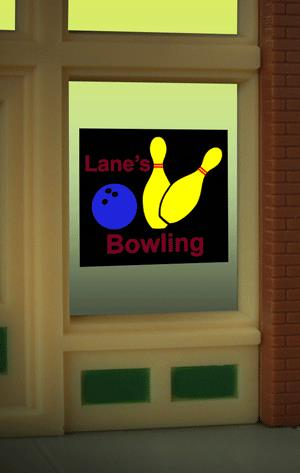 Miller Engineering 8955 HO/O Bowling Flashing Neon Window Sign This is a Miller Engineering 8955 HO/O Scales Bowling Flashing Neon Window Sign - Light Works USA. Limited Edition large (HO/O scale) Lane's Bowling animated window sign. Great addition to your layout or a diorama. Like all Miller Engineering window signs, it comes on an oversized clear background that can be trimmed as small as .85 W x .53 T Dimensions: approx. .53 high x .85 wide Kit includes: Electroluminescence sign lamp Power supply (requires 3 AAA batteries - not included) Complete instructions Runs on 3 AAA batteries or 4.5v DC wall adapter power supply (sold separately).Condition: Factory New (C-9All original; unused; factory rubs and evidence of handling, shipping and factory test run.Standards for all toy train related accessory items apply to the visual appearance of the item and do not consider the operating functionality of the equipment.Condition and Grading Standards are subjective, at best, and are intended to act as a guide. )Operational Status: FunctionalThis item is brand new from the factory.Original Box: Yes (P-9May have store stamps and price tags. Has inner liners.)Manufacturer: Miller EngineeringModel Number: 8955MSRP: $17.95Scale/Era: HO ModernModel Type: AccessoriesAvailability: Ships in 3 to 5 Business Days.The Trainz SKU for this item is P11984813. Track: 11984813 - FS - 001 - TrainzAuctionGroup00UNK - TDIDUNK