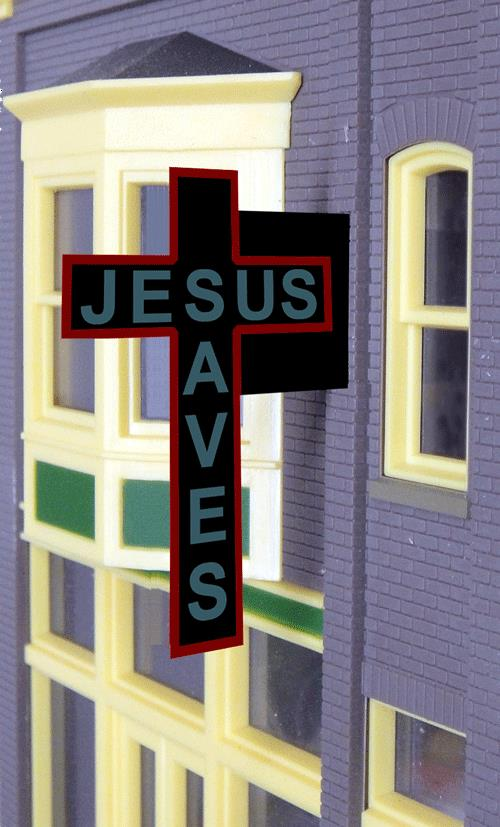 Miller Engineering 9071 O/HO Jesus Saves Animated Billboard Large This is a Miller Engineering 9071 HO/O Scales Animated Neon Side-Mount Double-Sided Building Sign Jesus Saves Cross Large for HO/O Scale 2 x 1-1/2 5.1 x 3.8cm. This is a great idea for taking an old style hotel and turning it into a mission style hotel or soup kitchen. This is a double side sign and makes the perfect companion sign to Miller Engineering's Salvation Army signs.Condition: Factory New (C-9All original; unused; factory rubs and evidence of handling, shipping and factory test run.Standards for all toy train related accessory items apply to the visual appearance of the item and do not consider the operating functionality of the equipment.Condition and Grading Standards are subjective, at best, and are intended to act as a guide. )Operational Status: FunctionalThis item is brand new from the factory.Original Box: Yes (P-9May have store stamps and price tags. Has inner liners.)Manufacturer: Miller EngineeringModel Number: 9071MSRP: $34.95Scale/Era: HO ModernModel Type: AccessoriesAvailability: Ships in 1 Business Day!The Trainz SKU for this item is P11620918. Track: 11620918 - No Location Assigned - 001 - TrainzAuctionGroup00UNK - TDIDUNK