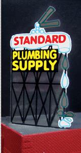 Miller Engineering 9181 HO/O Standard Plumbing Billboard This is a Miller Engineering 9181 HO/O Scales Standard Plumbing Billboard 3-1/2 x 1-3/4''. Features lighted lettering, animated faucet handle and water drops. 3.5 x 1.75. From dancing chase lights to pointing arrows, these animated Electroluminescent billboard kits feature a wide variety of colorful, simulated-neon graphics for a variety of businesses. Kits include battery holder and all necessary electronics for plug-and-play installation. Signs require three AAA batteries (not included). Just install them on your building rooftops or along highways. Large signs are suitable for HO and larger scales, medium signs are usable as large N Scale signs and in HO Scale.Condition: Factory New (C-9All original; unused; factory rubs and evidence of handling, shipping and factory test run.Standards for all toy train related accessory items apply to the visual appearance of the item and do not consider the operating functionality of the equipment.Condition and Grading Standards are subjective, at best, and are intended to act as a guide. )Operational Status: FunctionalThis item is brand new from the factory.Original Box: Yes (P-9May have store stamps and price tags. Has inner liners.)Manufacturer: Miller EngineeringModel Number: 9181MSRP: $32.95Scale/Era: HO ModernModel Type: AccessoriesAvailability: Ships in 1 Business Day!The Trainz SKU for this item is P11588373. Track: 11588373 - No Location Assigned - 001 - TrainzAuctionGroup00UNK - TDIDUNK