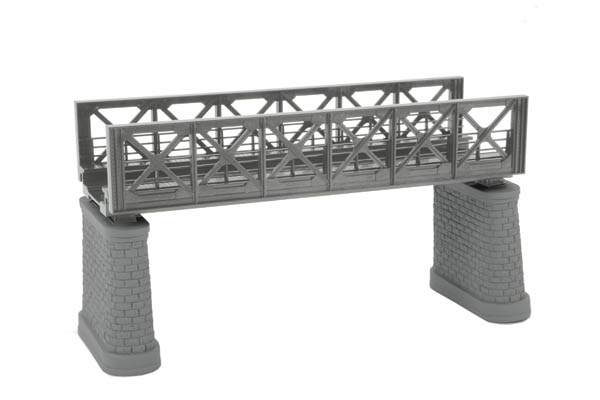 MTH 80-1043 HO Silver HO Girder Bridge Kit Features Intricately Detailed ABS Construction Easy-to-Assemble Kit Includes Two Molded Gray Stone Pillars, Molded Silver Arch Girders, Molded Silver Track Base Accepts Road-Bed Equipped Track and Regular Tie Track Mates Easily With Separately Sold Girder Bridges Optional Flashing Red LED Beacon Light (powered by separtely sold AC or DC power supply) Unit Measures:9 x 2 5/8 x 6 3/4Condition: Factory New (C-9All original; unused; factory rubs and evidence of handling, shipping and factory test run.Standards for all toy train related accessory items apply to the visual appearance of the item and do not consider the operating functionality of the equipment.Condition and Grading Standards are subjective, at best, and are intended to act as a guide. )Operational Status: FunctionalThis item is brand new from the factory.Original Box: Yes (P-9May have store stamps and price tags. Has inner liners.)Manufacturer: MTHModel Number: 80-1043MSRP: $12.95Scale/Era: HO ModernModel Type: AccessoriesAvailability: Ships in 3 to 5 Business Days.The Trainz SKU for this item is P12007075. Track: 12007075 - FS - 001 - TrainzAuctionGroup00UNK - TDIDUNK