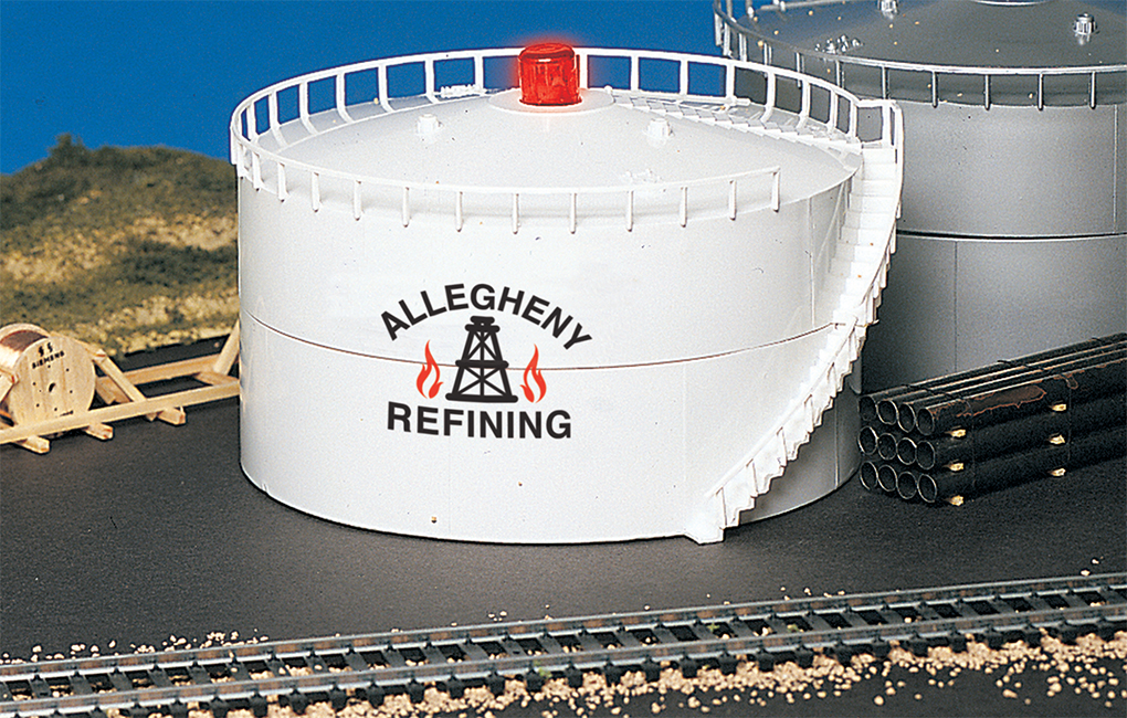 Bachmann 46219 HO Allegheny Oil Storage Tank w/Flashing LED This is Bachmann 46219 HO Allegheny Oil Storage Tank w/Flashing LED . You can add sound, lights, water features, and accent pieces to your railroad with our extensive selection of operating accessories. Measures: 2.75 H x 4.75 Diameter. Inside the package for this item is a pre-built Allegheny Refining storage tank.Condition: Factory New (C-9All original; unused; factory rubs and evidence of handling, shipping and factory test run.Standards for all toy train related accessory items apply to the visual appearance of the item and do not consider the operating functionality of the equipment.Condition and Grading Standards are subjective, at best, and are intended to act as a guide. )Operational Status: FunctionalThis item is brand new from the factory.Original Box: Yes (P-9May have store stamps and price tags. Has inner liners.)Manufacturer: BachmannModel Number: 46219MSRP: $31.50Scale/Era: HO ModernModel Type: BuildingsAvailability: Ships in 1 Business Day!The Trainz SKU for this item is P11982436. Track: 11982436 - No Location Assigned - 001 - TrainzAuctionGroup00UNK - TDIDUNK