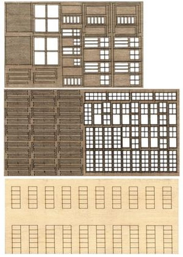 Bar Mills 32 HO Modular Structure - Kit (Laser-cut) This is an Bar Mills 32 HO Scale Modular Structure Kit (Laser-cut) The 1-Kit™. Create one-of-a-kind buildings for your railroad with this unique product. The 1-Kit takes you beyond the limits of traditional kits that only model a specific building. It provides you with a set of basic basswood parts that can be modified in an almost endless variety of ways to scratchbuild just about any kind of wooden structure. You can also adapt them or combine them with wood, metal and plastic parts from other kits. The basic 2-story wall sections (kit includes four) feature clapboard siding on the front and partially laser-cut window and door openings on the rear. Simply cut the wall sections to size or combine sections for multi-story buildings and remove openings to add doors or windows where you want them. Separate laser-cut windows can be assembled in the stock 10-pane style, or easily modified to smaller configurations. You can also model windows open or closed for a new level of detail. Separate people doors (both with and without windows; five doors total) and two styles of larger freight doors are also included. All doors and windows assemble in layers and feature separate frames so multi-color paint jobs are a snap. Each 1-Kit also includes a set of printed paper signs, stripwood interior bracing and clear acetate glass for windows. All you need to add is your favorite roofing material and any detail parts to complete your model. A 15 page how-to manual takes you through all of the cutting and assembly steps, each of which is illustrated with clear black and white photos. Lots of assembly hints and ideas are also provided.Condition: Factory New (C-9All original; unused; factory rubs and evidence of handling, shipping and factory test run.Standards for all toy train related accessory items apply to the visual appearance of the item and do not consider the operating functionality of the equipment.Condition and Grading Sta