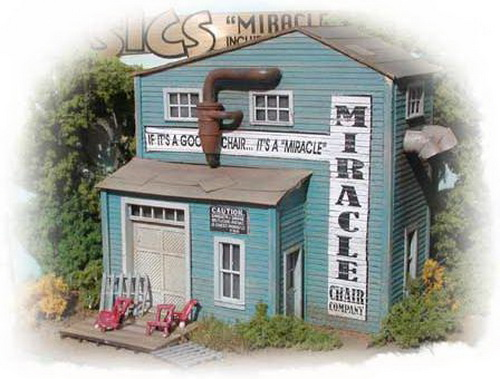 Bar Mills 732 HO Miracle Chair Company Laser-Cut Wood Kit This is an Bar Mills 732 HO Scale Miracle Chair Company Laser-Cut Wood Kit 3-1/2 x 2-1/2 8.9 x 6.4cm.Condition: Factory New (C-9All original; unused; factory rubs and evidence of handling, shipping and factory test run.Standards for all toy train related accessory items apply to the visual appearance of the item and do not consider the operating functionality of the equipment.Condition and Grading Standards are subjective, at best, and are intended to act as a guide. )Operational Status: FunctionalThis item is brand new from the factory.Original Box: Yes (P-9May have store stamps and price tags. Has inner liners.)Manufacturer: Bar MillsModel Number: 732MSRP: $22.95Scale/Era: HO ModernModel Type: BuildingsAvailability: Ships in 3 to 5 Business Days.The Trainz SKU for this item is P11464088. Track: 11464088 - FS - 001 - TrainzAuctionGroup00UNK - TDIDUNK