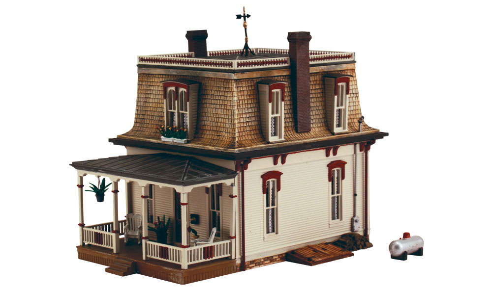 DPM 12700 HO Our House Kit This is a DPM 12700 HO KIT DPM Our House. Architectural works of art, infused with period-authentic detail. The newly developed, positive-interlocking, wall alignment system ensures a quick and accurate assembly. Pre-finished edges reduce preparation time. Its key features are: Mansard roof with weather vane Double chimneys Stone foundation Potted and hanging plants Window boxes filled with flowers Rocking chairs and table Root cellar door Woodpile and more! Footprint: 7 1/8 x 4 1/4Condition: Factory New (C-9All original; unused; factory rubs and evidence of handling, shipping and factory test run.Standards for all toy train related accessory items apply to the visual appearance of the item and do not consider the operating functionality of the equipment.Condition and Grading Standards are subjective, at best, and are intended to act as a guide. )Operational Status: FunctionalThis item is brand new from the factory.Original Box: Yes (P-9May have store stamps and price tags. Has inner liners.)Manufacturer: DPMModel Number: 12700MSRP: $56.99Scale/Era: HO ModernModel Type: BuildingsAvailability: Ships in 1 Business Day!The Trainz SKU for this item is P11643177. Track: 11643177 - 4020-D (Suite 2730-100)  - 001 - TrainzAuctionGroup00UNK - TDIDUNK