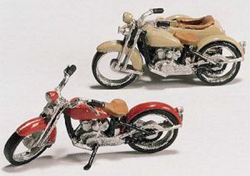 Woodland Scenics D228 HO Scale Motorcycles (2) & Sidecar Kit These sporty motorcycles will look great sitting in front of a Mom and Pop hangout. One motorcycle has a sidecar, perfect for mother-in-law to ride in…at a high rate of speed!Condition: Factory New (C-9All original; unused; factory rubs and evidence of handling, shipping and factory test run.Standards for all toy train related accessory items apply to the visual appearance of the item and do not consider the operating functionality of the equipment.Condition and Grading Standards are subjective, at best, and are intended to act as a guide. )Operational Status: FunctionalThis item is brand new from the factory.Original Box: Yes (P-9May have store stamps and price tags. Has inner liners.)Manufacturer: Woodland ScenicsModel Number: D228MSRP: $13.98Scale/Era: HO ModernModel Type: VehiclesAvailability: Ships in 3 to 5 Business Days.The Trainz SKU for this item is P11543040. Track: 11543040 - FS - 001 - TrainzAuctionGroup00UNK - TDIDUNK