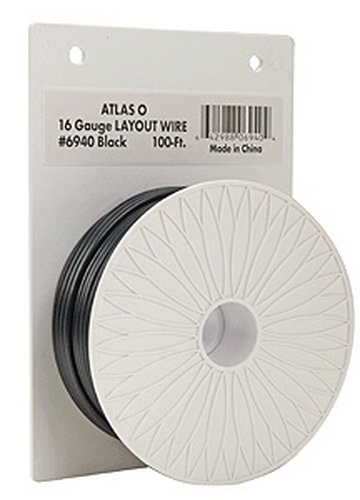 Atlas 6940 100' Black 16 Gauge Layout Wire Here is 100 feet of 16 gauge heavy duty layout wire. This size wire is great for power to for power to O and G scale layouts. This is overkill for HO and N scale layouts. For HO & N layouts and for lights, turnouts, and accessories on any scale layout. Use the Atlas 300 series 20 gauge wire.Condition: Factory New (C-9All original; unused; factory rubs and evidence of handling, shipping and factory test run.Standards for all toy train related accessory items apply to the visual appearance of the item and do not consider the operating functionality of the equipment.Condition and Grading Standards are subjective, at best, and are intended to act as a guide. )Operational Status: FunctionalThis item is brand new from the factory.Original Box: Yes (P-9May have store stamps and price tags. Has inner liners.)Manufacturer: AtlasModel Number: 6940MSRP: $999.99Scale/Era: HO ModernModel Type: DCC/ElectricalAvailability: Ships in 3 to 5 Business Days.The Trainz SKU for this item is P11459648. Track: 11459648 - FS - 001 - TrainzAuctionGroup00UNK - TDIDUNK