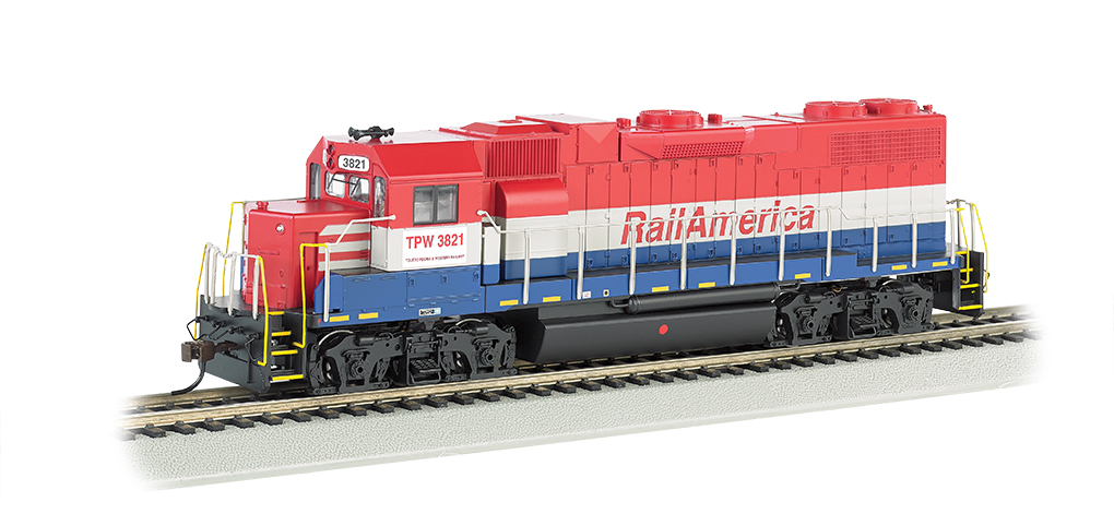 Bachmann 61718 HO GP38-2, Railamerica This is a Bachmann 61718 HO GP38-2, Railamerica with 8-wheel drive. DCC-ready with connection points for installation of a 6- or 8-wire harness decoder. Performs best on 18 radius curves or greater.Condition: Factory New (C-9All original; unused; factory rubs and evidence of handling, shipping and factory test run.Standards for all toy train related accessory items apply to the visual appearance of the item and do not consider the operating functionality of the equipment.Condition and Grading Standards are subjective, at best, and are intended to act as a guide. )Operational Status: FunctionalThis item is brand new from the factory.Original Box: Yes (P-9May have store stamps and price tags. Has inner liners.)Manufacturer: BachmannModel Number: 61718MSRP: $105.00Scale/Era: HO ModernModel Type: Diesel LocoAvailability: Ships in 2 Business Days!The Trainz SKU for this item is P12103344. Track: 12103344 - No Location Assigned - 001 - TrainzAuctionGroup00UNK - TDIDUNK