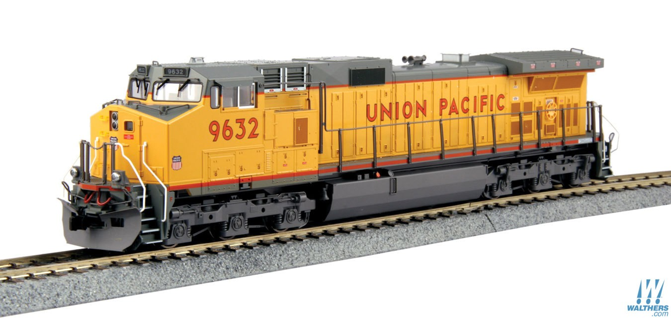 Kato 376632 HO Union Pacific GE C44-9W Diesel Loco #9632 (yellow, gray This is Kato 376632 HO Union Pacific GE C44-9W Diesel Loco #9632 (yellow, gray, red). Features includes great for pulling our Gunderson MAXI-IV double stack well cars. Precisely engineered weight distribution for more pulling power on steep grades and long trains. Lighted ditch lights in the high mount position for SP and UP (ex-SP) units. Prototypical Late Hi-Adhesion trucks. DCC and Sound friendly construction with a speaker housing in the fuel tank and standard 8 pin DCC plug.Condition: Factory New (C-9All original; unused; factory rubs and evidence of handling, shipping and factory test run.Standards for all toy train related accessory items apply to the visual appearance of the item and do not consider the operating functionality of the equipment.Condition and Grading Standards are subjective, at best, and are intended to act as a guide. )Operational Status: FunctionalThis item is brand new from the factory.Original Box: Yes (P-9May have store stamps and price tags. Has inner liners.)Manufacturer: KatoModel Number: 376632Road Name: Union PacificMSRP: $198.00Scale/Era: HO ModernModel Type: Diesel LocoAvailability: Ships in 2 Business Days!The Trainz SKU for this item is P12142518. Track: 12142518 - No Location Assigned - 001 - TrainzAuctionGroup00UNK - TDIDUNK