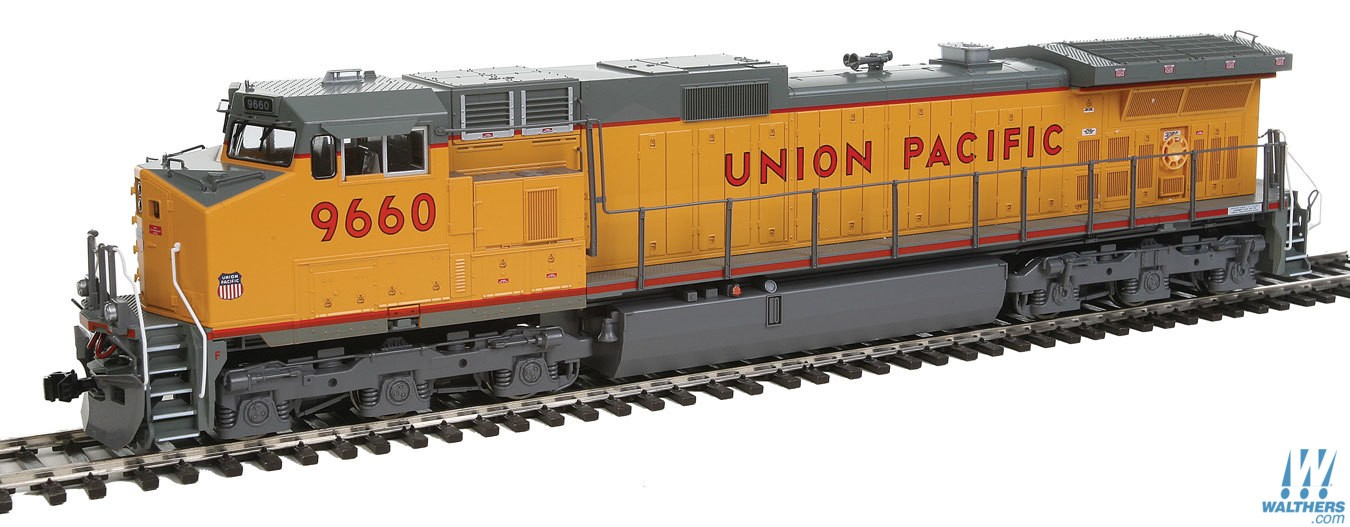 Kato 376633 HO Union Pacific GE C44-9W Diesel Loco #9660 (yellow, gray This is Kato 376633 HO Union Pacific GE C44-9W Diesel Loco #9660 (yellow, gray, red). Features includes great for pulling our Gunderson MAXI-IV double stack well cars. Precisely engineered weight distribution for more pulling power on steep grades and long trains. Lighted ditch lights in the high mount position for SP and UP (ex-SP) units. Prototypical Late Hi-Adhesion trucks. DCC and Sound friendly construction with a speaker housing in the fuel tank and standard 8 pin DCC plug.Condition: Factory New (C-9All original; unused; factory rubs and evidence of handling, shipping and factory test run.Standards for all toy train related accessory items apply to the visual appearance of the item and do not consider the operating functionality of the equipment.Condition and Grading Standards are subjective, at best, and are intended to act as a guide. )Operational Status: FunctionalThis item is brand new from the factory.Original Box: Yes (P-9May have store stamps and price tags. Has inner liners.)Manufacturer: KatoModel Number: 376633Road Name: Union PacificMSRP: $198.00Scale/Era: HO ModernModel Type: Diesel LocoAvailability: Ships in 2 Business Days!The Trainz SKU for this item is P12142520. Track: 12142520 - No Location Assigned - 001 - TrainzAuctionGroup00UNK - TDIDUNK