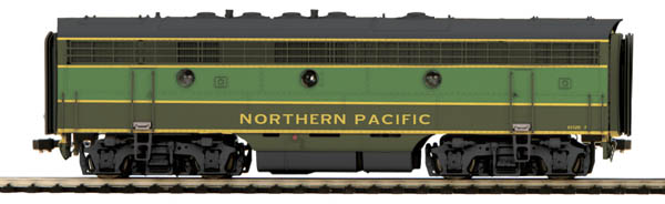 MTH 80-2122-1 F-7 B Unit w/Snd NP This is MTH 80-2122-1 F-7 B Unit w/Snd NP. F-7 B unit with Proto-Sound 3.0, Northern Pacific. Cab number: 6512B. Manufactured by the Electro-Motive division of GM (EMD) from 1949 to 1953, the F-7 was a welcome relief to the strict guidelines set in place by the War Production Board during WWII. By 1945 the war had ended and the restrictions were lifted. EMD took advantage of having no limitations on supplies and released their F-series locomotives that same summer. The EMD F-7 shared the same smooth faced pilots and coupler shrouds as the earlier F3, the only noticeable difference between the two was the F-7's modified primary internal equipments, and the replacement of the F-3's chicken wire grilles with stainless steel upper body grilles.This 1500hp diesel electric locomotive worked hard to meet industry demand after the four years of restriction during the war. Universally associated with North American railroads until the 1970's, EMD's F-7 continued to be used for decades as railroads found them inexpensive to operate and maintain. Originally introduced as a freight-hauling unit, by EMD, the F-7 was also frequently used in passenger service. The F-7 wound up being the best selling carbody-style diesel EMD ever produced, selling over 3,700 units to 49 different railroads. They stayed in service until 1970 and assured itself a place in the railroad record books as a triumph of diesel productivity.M.T.H. is proud to offer the drama of this postwar locomotive in HO scale. The M.T.H. HO FA-2 Diesel Sets include Proto Sound 3.0 offering authentic EMD 567 prime mover sounds, first generation diesel horn and bell, crew station sounds, break sounds, and cab chatter. The F7 features superb detailing that characterizes all M.T.H. HO diesels, with added-on details that include legible builder's plates, grab irons, multiple-unit hoses, rooftop lift rings, see-through rooftop fans, steam generator exh