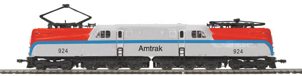 MTH 80-2152-5 GG-1 Elect PS3E+ AMTK#924 This is MTH80-2152-5 GG-1 Elect PS3E+ AMTK#924. GG-1 electric with Proto-Sound 3E+ (3-rail), Amtrak. Cab number: 924. For more than two decades, the Pennsylvania Railroad experimented with locomotive designs in search of a high-speed, mainline passenger electric. That search ended in 1934 with the GG1, a cooperative effort by the PRR, Baldwin, Westinghouse, and General Electric, based largely on neighbor New Haven's successful EP3 juice jack. Industrial designer Raymond Loewy cleaned up the original riveted body to create a design that looked contemporary for half a century.The GG1 fleet hustled passenger traffic of all types along the Pennsy's multi-track raceway from New York to Washington and west to Harrisburg, including the famed Congressional and Broadway Limited. With 18 Pullmans in tow, a GG1 could hit 100 mph. Regeared for freight service and run as double-headers, a pair of GG1s delivered about the same tractive effort as a Union Pacific Big Boy, with virtually no noise, no smoke, much less wear on the track, and significantly less maintenance. Many GG1s racked up more than five million miles of service, outlasting the railroad that built them and serving its two successors, the Penn Central and Conrail. If there were a Locomotive Hall of Fame, the Pennsylvania Railroad GG1 would surely be one of the first inductees.Add this fully die-cast Hall of Famer to your layout as a complete set or in one or more authentic PRR liveries, featuring station sounds for Pennsy name trains, smooth performance at any speed from a crawl to full throttle, a powerful 12-Volt 5-Pole precision skew-Wound flywheel equipped motor to rival the prototype, and pantographs that automatically raise and lower according to the direction of travel.For those who have operated Marklin HO AC 3-rail trains in the past, choosing a Proto-Sound 3E+ equipped model will give you an opportunity to run sound