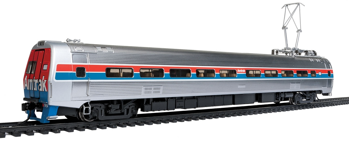 Walthers 920-13842 HO Amtrak Budd Metroliner Electric Multiple Unit Co This is a WalthersProto 920-13842 HO Scale Budd Metroliner Electric Multiple Unit (EMU) Coach - Standard DC Amtrak(R) (Phase II red, white, blue w/Large Name). * New Decal Unit Numbers * Based on Equipment in Service 1968-1982 * 3 Prototype Car Styles * One Helical Geared Power Truck & Skew-Wound High Torque Motor in Each Unit * Working Headlight, Gyralight, Reversing A-End Red Marker Lights, Number Boards & Interior Lighting * Detailed, Spring-Loaded GE or Westinghouse Pantographs per Prototype * Real Metal Finish Simulates Stainless Steel * Correct A & B End Details * Factory-Installed Steel Grab * Prototypically Accurate Window Tinting * Available with Factory-Installed Soundtraxx(R) Tsunami(R) Sound for Operation on DCC or DC Layouts * Proto MAX(TM) Metal Knuckle Couplers . Flashing by at 100+mph, Metroliners symbolized American high-speed rail service for years, serving business travelers on Penn Central and later Amtrak as the fastest scheduled trains in the western hemisphere! Now these history-making trains are back in authentic HO Scale as only Walthers can, with the all-new WalthersProto Metroliner. Just as the prototypes broke new ground in style and technology, so do our Metroliners! Completely new from roof to rails, we've captured the unique shape of the Coach, Snack Bar Coach and Parlor Car in all-new tooling. Each comes fully assembled with Walthers real metal stainless steel finish complemented by ultra-sharp Amfleet Phase I paint and lettering including factory-printed car numbers. Fine details, from a full underbody to installed grab irons, from prototypically tinted windows to sprung General Electric or Westinghouse pantographs as appropriate, are all included. Powered by the proven technology of WalthersProto locos, each car has its own high torque motor, driving a powered truck with helical gears, and comes in dual mode Tsunami Sound & DCC (sound operates on DC) or Standard