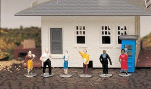 Bachmann 42332 HO Standing People Figures (6) This is a Bachmann 42332 HO Standing People Figures (6). Populate your layout with miniature figures from all walks of life. Six hand-painted plastic figures are included. Designed for use with HO scale railroad layouts and diorama settings. Hand painted plastic figures. Contained in a plastic case. Each standing figure is placed on a gray plastic base Lady: Red dress, black heels, hands placed on her hips. Lady holding child: turquoise dress. Girl walking: gold skirt, brown sweater. Man: brown suit and vest, blue shirt. Man: black slacks, white shirt and gray shoes. Newspaper boy: brown slacks, yellow shirt (selling newspapers).Condition: Factory New (C-9All original; unused; factory rubs and evidence of handling, shipping and factory test run.Standards for all toy train related accessory items apply to the visual appearance of the item and do not consider the operating functionality of the equipment.Condition and Grading Standards are subjective, at best, and are intended to act as a guide. )Operational Status: FunctionalThis item is brand new from the factory.Original Box: Yes (P-9May have store stamps and price tags. Has inner liners.)Manufacturer: BachmannModel Number: 42332MSRP: $12.00Scale/Era: HO ModernModel Type: FiguresAvailability: Ships within 3 Business Days!The Trainz SKU for this item is P11461638. Track: 11461638 - 4022-B (Suite 2730-100)  - 001 - TrainzAuctionGroup00UNK - TDIDUNK