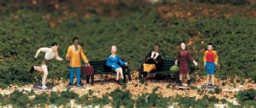 Bachmann 42339 HO People at Leisure Figures (6) This is a Bachmann 42339 HO People at Leisure Figures (6). Populate your layout with miniature figures from all walks of life. Designed for HO scale railroad layouts and dioramas. Hand painted plastic figures (four are complete with stand). Stored in a divided plastic case. Man reading a book with yellow pants, white shirt, blue tie, brown sweater. Lady sitting with blue dress and gray shoes. Lady walking with brown raincoat, green boots, and green bag. Lady walking with gray skirt, red blouse, yellow sweater, brown hair. Jogger with green jogging shorts and white tank top. Businessman with blue slacks, beige jacket, and brown briefcase.Condition: Factory New (C-9All original; unused; factory rubs and evidence of handling, shipping and factory test run.Standards for all toy train related accessory items apply to the visual appearance of the item and do not consider the operating functionality of the equipment.Condition and Grading Standards are subjective, at best, and are intended to act as a guide. )Operational Status: FunctionalThis item is brand new from the factory.Original Box: Yes (P-9May have store stamps and price tags. Has inner liners.)Manufacturer: BachmannModel Number: 42339MSRP: $12.00Scale/Era: HO ModernModel Type: FiguresAvailability: Ships within 3 Business Days!The Trainz SKU for this item is P11461642. Track: 11461642 - 4047-B (Suite 2730-100)  - 001 - TrainzAuctionGroup00UNK - TDIDUNK