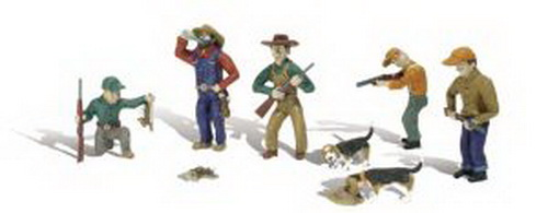 Woodland Scenics A1903 HO Rabbit Hunt Figures & Rabbits Five mighty hunters. With gun in hand, one man kneels and examines his trophy rabbit, and another drinks a beverage with his catch of the day tied to his belt. One man stands with a gun and another is aiming at a rabbit, hopping away. Another man watches as his dogs sniff a trail.Condition: Factory New (C-9All original; unused; factory rubs and evidence of handling, shipping and factory test run.Standards for all toy train related accessory items apply to the visual appearance of the item and do not consider the operating functionality of the equipment.Condition and Grading Standards are subjective, at best, and are intended to act as a guide. )Operational Status: FunctionalThis item is brand new from the factory.Original Box: Yes (P-9May have store stamps and price tags. Has inner liners.)Manufacturer: Woodland ScenicsModel Number: A1903MSRP: $15.99Scale/Era: HO ModernModel Type: FiguresAvailability: Ships in 3 to 5 Business Days.The Trainz SKU for this item is P11542839. Track: 11542839 - FS - 001 - TrainzAuctionGroup00UNK - TDIDUNK