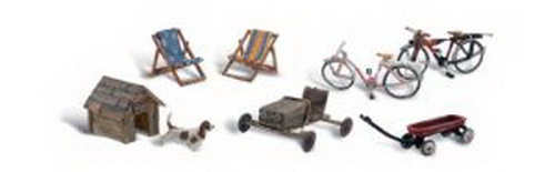 Woodland Scenics A1931 HO Backyard Bicycles, Chairs, Dog House, Soapbo What's a backyard without bicycles, lawn chairs, toys and a little pup and his doghouse.Condition: Factory New (C-9All original; unused; factory rubs and evidence of handling, shipping and factory test run.Standards for all toy train related accessory items apply to the visual appearance of the item and do not consider the operating functionality of the equipment.Condition and Grading Standards are subjective, at best, and are intended to act as a guide. )Operational Status: FunctionalThis item is brand new from the factory.Original Box: Yes (P-9May have store stamps and price tags. Has inner liners.)Manufacturer: Woodland ScenicsModel Number: A1931MSRP: $18.99Scale/Era: HO ModernModel Type: FiguresAvailability: Ships in 3 to 5 Business Days.The Trainz SKU for this item is P11542869. Track: 11542869 - FS - 001 - TrainzAuctionGroup00UNK - TDIDUNK