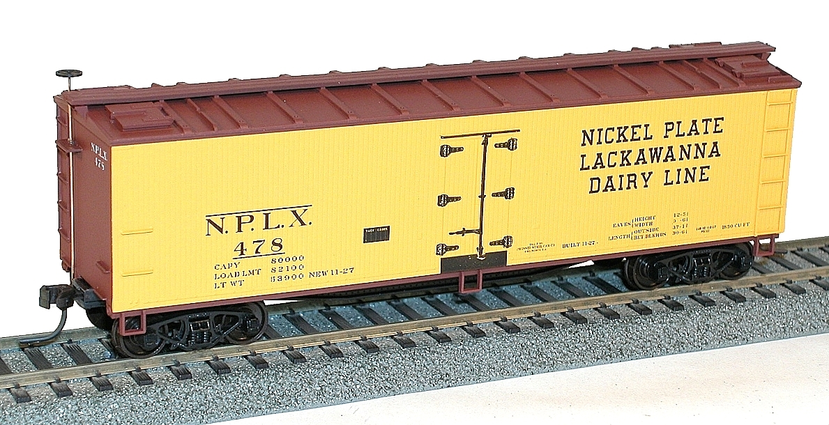 Accurail 4852 HO Nickel Plate Lackawanna Dairy Line 40' Wood Refrigera This is a Accurail 4852 HO Nickel Plate Lackawanna Dairy Line 40' Wood Refrigerator CarCondition: Factory New (C-9All original; unused; factory rubs and evidence of handling, shipping and factory test run.Standards for all toy train related accessory items apply to the visual appearance of the item and do not consider the operating functionality of the equipment.Condition and Grading Standards are subjective, at best, and are intended to act as a guide. )Operational Status: FunctionalThis item is brand new from the factory.Original Box: Yes (P-9May have store stamps and price tags. Has inner liners.)Manufacturer: AccurailModel Number: 4852MSRP: $18.98Scale/Era: HO ModernModel Type: Freight CarsAvailability: Ships in 3 to 5 Business Days.The Trainz SKU for this item is P12100458. Track: 12100458 - FS - 001 - TrainzAuctionGroup00UNK - TDIDUNK
