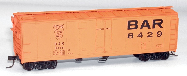 Accurail 8309 HO KIT 40' Steel Reefer, BAR This is Accurail 8309 HO KIT 40' Steel Reefer, BAR. 40' steel refrigerator car, Bangor and Aroostook Kit #8429. Model is based on original car built in 1946 / 1964.Its key features are:One-piece body with details molded in placeAuthentic paint and lettering schemes with end reporting marksTrucks with nonmagnetic axlesCoupler pockets accepts Kadee® #5 couplersExceptionally free-rolling wheelsCondition: Factory New (C-9All original; unused; factory rubs and evidence of handling, shipping and factory test run.Standards for all toy train related accessory items apply to the visual appearance of the item and do not consider the operating functionality of the equipment.Condition and Grading Standards are subjective, at best, and are intended to act as a guide. )Operational Status: FunctionalThis item is brand new from the factory.Original Box: Yes (P-9May have store stamps and price tags. Has inner liners.)Manufacturer: AccurailModel Number: 8309MSRP: $18.98Scale/Era: HO ModernModel Type: Freight CarsAvailability: Ships in 3 to 5 Business Days.The Trainz SKU for this item is P11662539. Track: 11662539 - FS - 001 - TrainzAuctionGroup00UNK - TDIDUNK