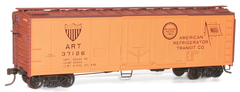 Accurail 8510 HO ART 40' PD REEFER This is Accurail 8510 HO ART 40' PD REEFER. 40' steel reefer with plug doors kit. American Refrigerator Transit (Wabash & MP logos).Its key features are:Easy-to-build plastic car kitOne-piece body with details molded in placeAuthentic paint and lettering schemes with end reporting marksTrucks feature nonmagnetic axlesCoupler pockets accepts Kadee® #5 couplersExceptionally free-rolling wheelsCondition: Factory New (C-9All original; unused; factory rubs and evidence of handling, shipping and factory test run.Standards for all toy train related accessory items apply to the visual appearance of the item and do not consider the operating functionality of the equipment.Condition and Grading Standards are subjective, at best, and are intended to act as a guide. )Operational Status: FunctionalThis item is brand new from the factory.Original Box: Yes (P-9May have store stamps and price tags. Has inner liners.)Manufacturer: AccurailModel Number: 8510MSRP: $18.98Scale/Era: HO ModernModel Type: Freight CarsAvailability: Ships in 3 to 5 Business Days.The Trainz SKU for this item is P11676833. Track: 11676833 - FS - 001 - TrainzAuctionGroup00UNK - TDIDUNK