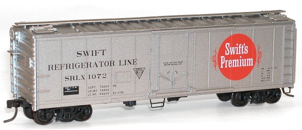 Accurail 150-9831 Plug Dr 40' Stl Rfr SWIFT This is Accurail 8512 Plug Dr 40' Stl Rfr SWIFT. 40' steel reefer with plug doors kit. Swift Refrigerator Line SRLX #1072 (silver, red, large logo). Its key features are: One-piece body with details molded in place Authentic paint and lettering schemes with end reporting marks Trucks with nonmagnetic axles Coupler pockets accepts Kadee® #5 couplers Exceptionally free-rolling wheelsCondition: Factory New (C-9All original; unused; factory rubs and evidence of handling, shipping and factory test run.Standards for all toy train related accessory items apply to the visual appearance of the item and do not consider the operating functionality of the equipment.Condition and Grading Standards are subjective, at best, and are intended to act as a guide. )Operational Status: FunctionalThis item is brand new from the factory.Original Box: Yes (P-9May have store stamps and price tags. Has inner liners.)Manufacturer: AccurailModel Number: 8512MSRP: $18.98Scale/Era: HO ModernModel Type: Freight CarsAvailability: Ships in 3 to 5 Business Days.The Trainz SKU for this item is P11965003. Track: 11965003 - FS - 001 - TrainzAuctionGroup00UNK - TDIDUNK
