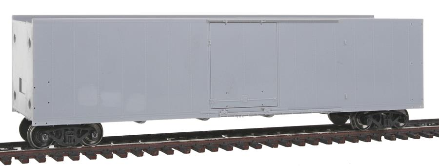 """Atlas 20001363 HO Undecorated 50' Plug Door Boxcar This is Atlas 20001363 HO Undec 50' PD Boxcar. 50' plug door box car, undecorated. Sliding door box cars were basically the build standard prior to World War II. It wasn't until after the war that many railroads experimented with the use of plug doors, similar to those used on many refrigerator cars, on their box cars. The tight seal of the plug door, accompanied by insulated sides, ends, floor and roof panels, allowed these new box cars to carry perishables where temperature control was important but refrigeration wasn't necessary. This design, classified by the AAR (Association of American Railways) as """"RB"""" or """"RBL"""", meaning bunkerless refrigerator cars, gained popularity in the mid 1950s and the following decade saw over 3,000 similar cars built for a number of different owners.Its key features are:Late improved Dreadnaught endsOverhanging diagonal panel roof with or without roofwalk as per the prototypeStraight-side sill body design8/8 panel, riveted sidesHighly detailed underframeSeparately-applied ladders, grab irons and latch barsBlackened metal wheelsAccuMate® couplersCondition: Factory New (<span class= tooltip  style= text-decoration: underline; color: blue;  title= C-9: All original; unused; factory rubs and evidence of handling, shipping and factory test run.Standards for all toy train related accessory items apply to the visual appearance of the item and do not consider the operating functionality of the equipment.Condition and Grading Standards are subjective, at best, and are intended to act as a guide. >C-9)Operational Status: FunctionalOriginal Box: Yes (P-9)Manufacturer: AtlasModel Number: 20001363MSRP: $26.95Scale/Era: HO ModernModel Type: Freight CarsAvailability: Ships in 2 Business Days!The Trainz SKU for this item is P11823844. Track: 11823844 - No Location Assigned - 001 - TrainzAuctionGroup00UNK - TDIDUNK"""