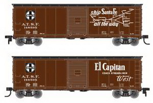 Atlas 64231 HO USRA Steel Rebuilt Boxcar SF El Capitan #148550/brn Features: Ready-to-runHighly detailed body 10-Panel body 7-8 or 5-5-5 panel ends as per the prototype Accurate painting and printingBrake detailAccuMate® couplers Opening door Fishbelly or Straight underframe as per prototypeSeparately applied wire grabs and side ladders Inside height of model may vary from prototypeCondition: Factory New (C-9All original; unused; factory rubs and evidence of handling, shipping and factory test run.Standards for all toy train related accessory items apply to the visual appearance of the item and do not consider the operating functionality of the equipment.Condition and Grading Standards are subjective, at best, and are intended to act as a guide. )Operational Status: FunctionalThis item is brand new from the factory.Original Box: Yes (P-9May have store stamps and price tags. Has inner liners.)Manufacturer: AtlasModel Number: 64231MSRP: $34.95Scale/Era: HO ModernModel Type: Freight CarsAvailability: Ships in 3 to 5 Business Days.The Trainz SKU for this item is P11649954. Track: 11649954 - FS - 001 - TrainzAuctionGroup00UNK - TDIDUNK