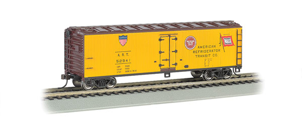 Bachmann 19803 HO American Refrigerator Transit 40' Wood Reefer This is Bachmann 19803 HO American Refrigerator Transit 40' Wood Reefer. Features includes blackened metal wheels, body mounted couplers, non-magnetic axles. Painted in yellow, boxcar red and also have MP & WAB logos.Condition: Factory New (C-9All original; unused; factory rubs and evidence of handling, shipping and factory test run.Standards for all toy train related accessory items apply to the visual appearance of the item and do not consider the operating functionality of the equipment.Condition and Grading Standards are subjective, at best, and are intended to act as a guide. )Operational Status: FunctionalThis item is brand new from the factory.Original Box: Yes (P-9May have store stamps and price tags. Has inner liners.)Manufacturer: BachmannModel Number: 19803Road Name: American Refrigerator TransitMSRP: $36.00Scale/Era: HO ModernModel Type: Freight CarsAvailability: Ships in 1 Business Day!The Trainz SKU for this item is P12090758. Track: 12090758 - No Location Assigned - 001 - TrainzAuctionGroup00UNK - TDIDUNK