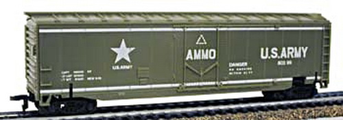 Model Power 9164 HO Army Exploding Car This is an HO Scale US Army Exploding Boxcar from the Military Action Series by Model Power. Features: Compatible with any HO scale train equipment, Detailed car body is molded in olive green plastic, Looks like an ordinary box car until hit by a missile (missile not included), When a missile hits the ammo carrying boxcar, it explodes!, Upon missile impact, car sides and top will explode from car base, Roofwalk, ladders, and brakewheel are molded in detail, U.S. Army 80299, AMMO, U.S. Army logo in white on each side, Detailed undercarriage, Free-rolling wheels. Includes: One HO Scale US Army Exploding Boxcar. Adult Supervision. Scale: HO 1:87. Length: 7 (178mm). Width: 1-3/8 (35mm). Height: 2-1/8 (54mm)Condition: Factory New (C-9All original; unused; factory rubs and evidence of handling, shipping and factory test run.Standards for all toy train related accessory items apply to the visual appearance of the item and do not consider the operating functionality of the equipment.Condition and Grading Standards are subjective, at best, and are intended to act as a guide. )Operational Status: FunctionalThis item is brand new from the factory.Original Box: Yes (P-9May have store stamps and price tags. Has inner liners.)Manufacturer: Model PowerModel Number: 9164MSRP: $29.98Scale/Era: HO ModernModel Type: Freight CarsAvailability: Ships in 3 to 5 Business Days.The Trainz SKU for this item is P11554232. Track: 11554232 - FS - 001 - TrainzAuctionGroup00UNK - TDIDUNK