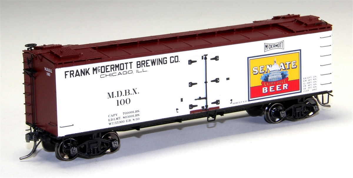 MTH 80-94034 Senate Beer HO Scale R40-2 Woodside Reefer Car This is MTH 80-94034 Senate Beer HO Scale R40-2 Woodside Reefer Car, #102. The coming of the railroad changed the way America ate and drank. Before the iron horse connected every town of any importance to the outside world, most food was grown or produced locally. The arrival of cheap, fast, refrigerated transport - in the form of the woodsided reefer with ice bunkers at each end - enabled local brewers, dairies, meat processors, and other food businesses to become players on a national scale. Until 1934, shippers could advertise their wares on leased bill - board reefers, each a hand-painted traveling work of art. That year, the Interstate Commerce Commission outlawed the flamboyant paint schemes because the cars often hauled shipments from other companies - whose freight bills thus unfairly paid to advertise the lessee's products. M.T.H. Electric Trains' HO premium rolling stock like this R40-2 reefer car are true 1/87 scale models of North American freight cars. Abundantly detailed with separate grab irons, steps, hatches and brake wheels ensure that these models will hold up to even the most discrminating eye. Outfitted with smooth rolling trucks and Kadee couplers make them a favorite of operators who enjoy long consists of colorful liveries, each available in multiple car numbers. Its key features are: Intricately detailed durable ABS body Metal wheels and axles Decorative brake wheels Separate metal handrails 1:87 scale dimensions Kadee® couplers Detailed undercarriage Detailed 4-wheel trucks Unit measures: 6 x 1 5/16 x 1 7/8 Operates on 18 radius curvesCondition: Factory New (C-9All original; unused; factory rubs and evidence of handling, shipping and factory test run.Standards for all toy train related accessory items apply to the visual appearance of the item and do not consider the operating functionality of the equipment.Condition and Grading Standards are subjective, at best, and are intended t