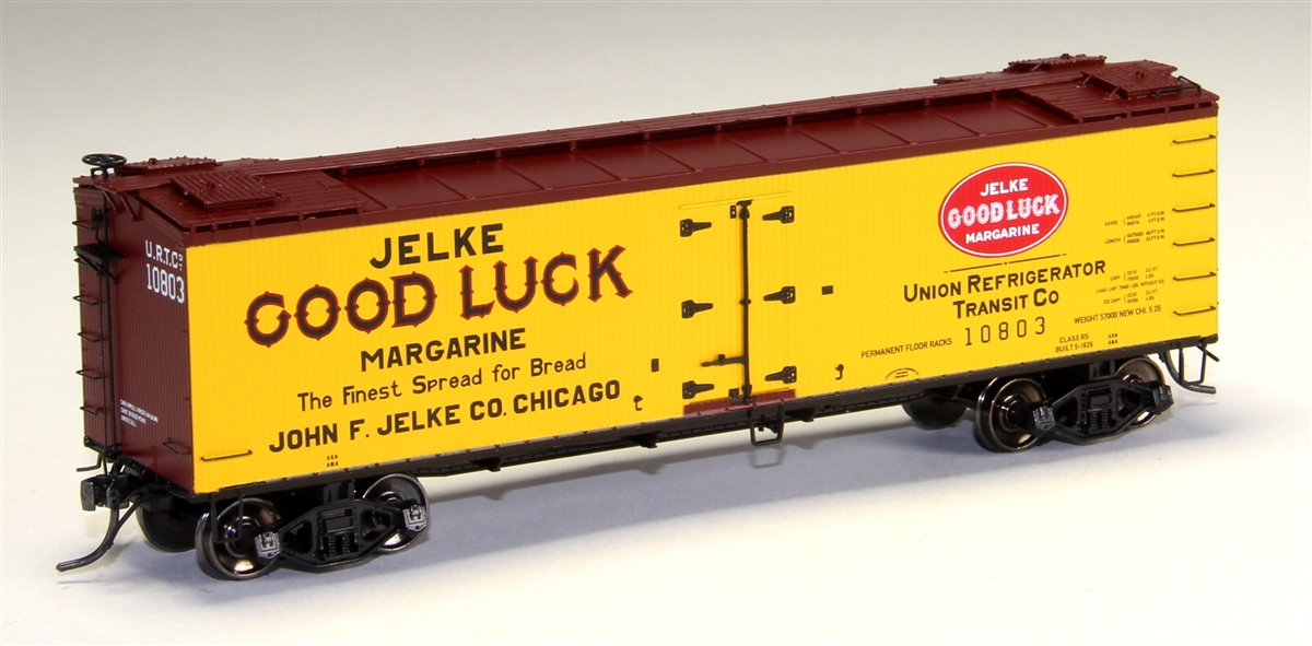 MTH 80-94037 HO R40-2 Wood Reefer, Jelke Good Luck Margarine #10805 This is MTH 80-94037 HO R40-2 Wood Reefer, Jelke Good Luck Margarine, #10805. The coming of the railroad changed the way America ate and drank. Before the iron horse connected every town of any importance to the outside world, most food was grown or produced locally. The arrival of cheap, fast, refrigerated transport - in the form of the woodsided reefer with ice bunkers at each end - enabled local brewers, dairies, meat processors, and other food businesses to become players on a national scale. Until 1934, shippers could advertise their wares on leased bill - board reefers, each a hand-painted traveling work of art. That year, the Interstate Commerce Commission outlawed the flamboyant paint schemes because the cars often hauled shipments from other companies - whose freight bills thus unfairly paid to advertise the lessee's products. M.T.H. Electric Trains' HO premium rolling stock like this R40-2 reefer car are true 1/87 scale models of North American freight cars. Abundantly detailed with separate grab irons, steps, hatches and brake wheels ensure that these models will hold up to even the most discrminating eye. Outfitted with smooth rolling trucks and Kadee couplers make them a favorite of operators who enjoy long consists of colorful liveries, each available in multiple car numbers. Its key features are: Intricately detailed durable ABS body Metal wheels and axles Decorative brake wheels Separate metal handrails 1:87 scale dimensions Kadee® couplers Detailed undercarriage Detailed 4-wheel trucks Unit measures: 6 x 1 5/16 x 1 7/8 Operates on 18 radius curvesCondition: Factory New (C-9All original; unused; factory rubs and evidence of handling, shipping and factory test run.Standards for all toy train related accessory items apply to the visual appearance of the item and do not consider the operating functionality of the equipment.Condition and Grading Standards are subjective, at best, and are